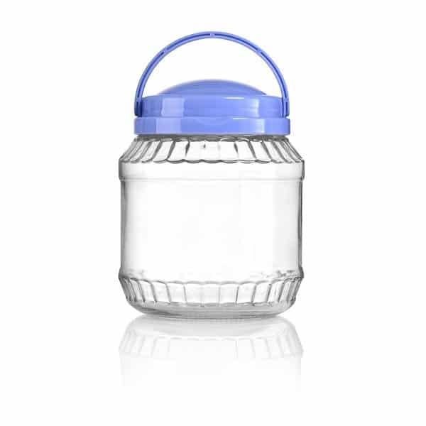 צנצנת 1.5 ליטר זכוכית +מכסה כחול וידית