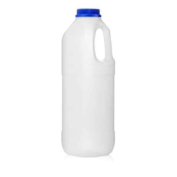 בקבוק 1 ליטר PE חלב ידית ופקק כחול