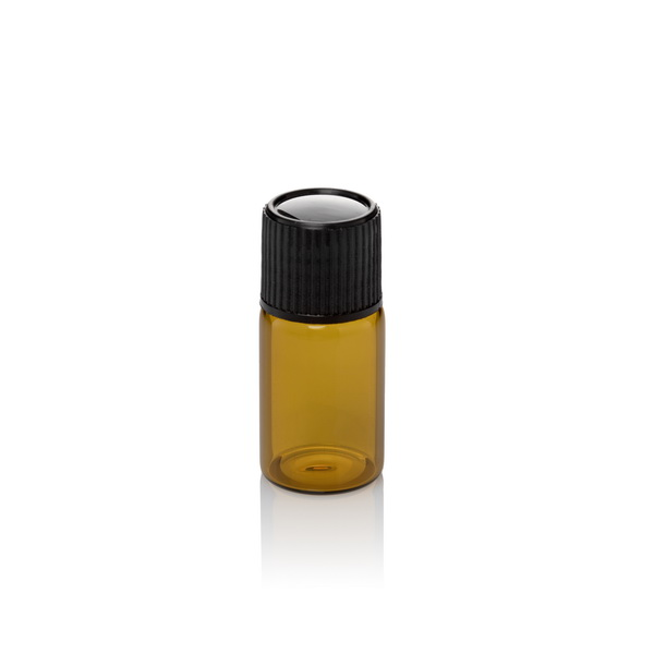 בקבוק 10 מל חום זכוכית+ פקק+ אטם