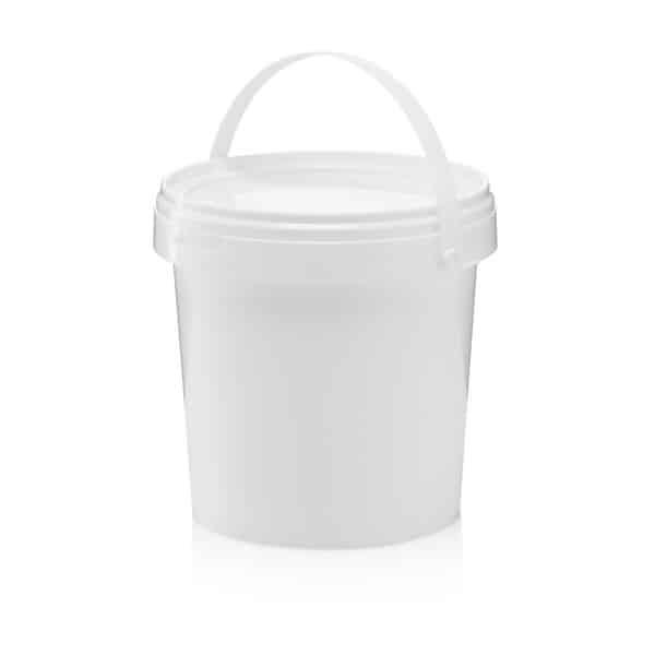 דלי 1.2 ליטר עגול לבן כולל מכסה